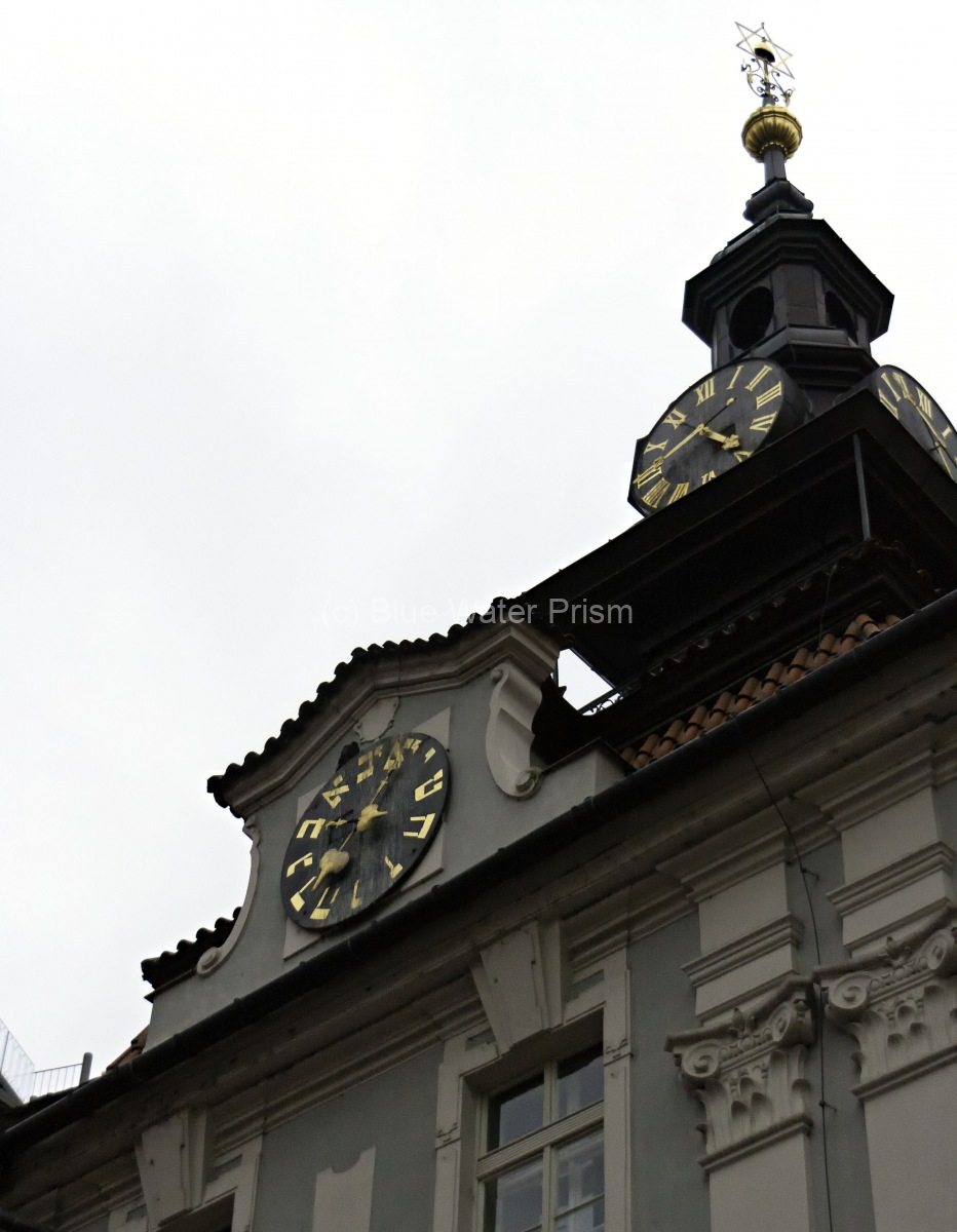 Hebrew Clock of the Old Jewish Town Hall