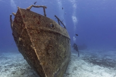 Diver alongside the C53 wreck in Cozumel