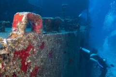 Diving inside the wreck of the C53 in Cozumel