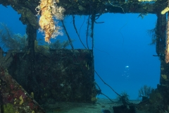 Diving inside the wreck of the Doc Poulson in Grand Cayman
